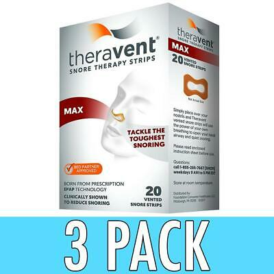 Theravent Snore Therapy Strips, Max, 20 ea, 3 Pack