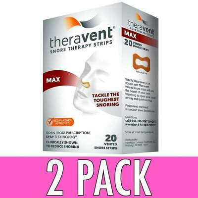 Theravent Snore Therapy Strips, Max, 20 ea, 2 Pack