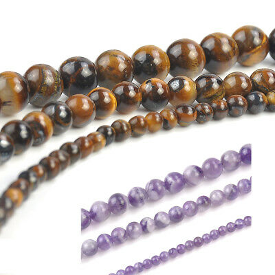 Natural Gemstone Tiger's Eye Amethyst Stone Round Loose Beads 4mm 6mm 8mm 15""