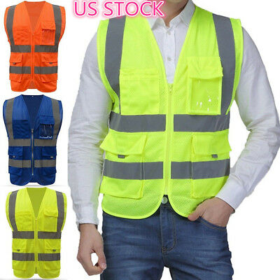 Unisex Safety Security Visibility Reflective Vest Construction Traffic Work Wear