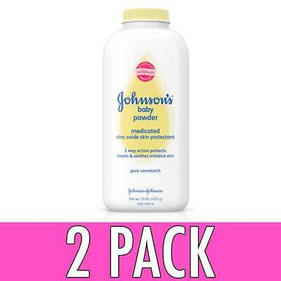 Johnson's Baby Pure Cornstarch Powder, Medicated, 15 oz, 2 Pack