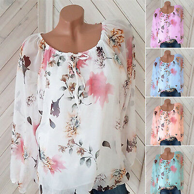 Plus Size Womens Summer Casual Shirt Ladies Long Sleeve Lace up Blouse Loose Top