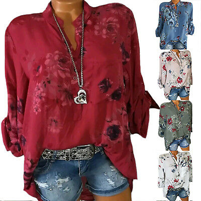 Plus Size Women Summer Casual Shirt Long Sleeve Floral Printed Button Blouse Top