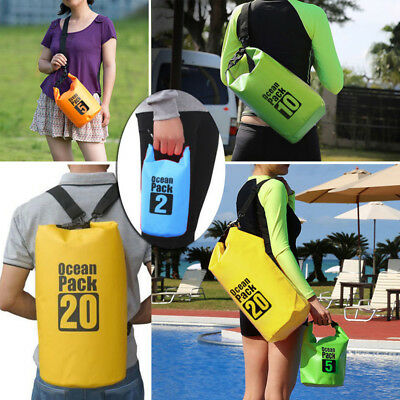2L-30L Outdoor Backpack Kayak Pack Waterproof Dry Bag Sack Colorful Tarpulin UK