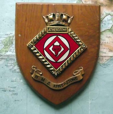 Old Vintage HMS ATHERSTONE  Painted Royal Navy Ship Badge Crest Shield Plaque