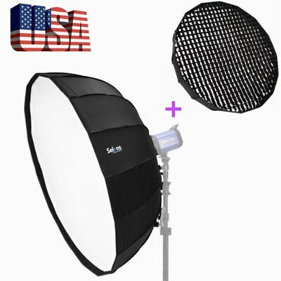 US Selens 65cm Foldable Collapsible Beauty Dish Softbox&Honeycomb Grid for Flash