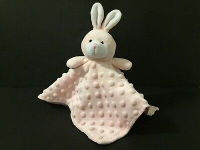 Elegant Baby Bunny Rabbit Lovey Security Blanket Pink Satin Minky Dot Bumpy
