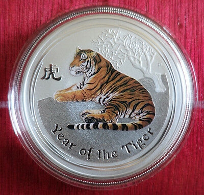 "1 Oz colorized Lunar II silver coin 2010, Tiger ""rare"" from sealed roll"