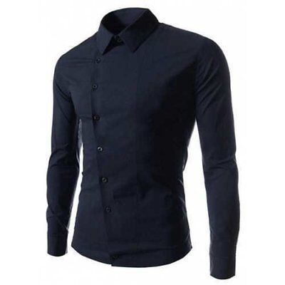 Stylish Shirt Collar Slimming Solid Color Oblique Button Long Sleeve Men's Po...