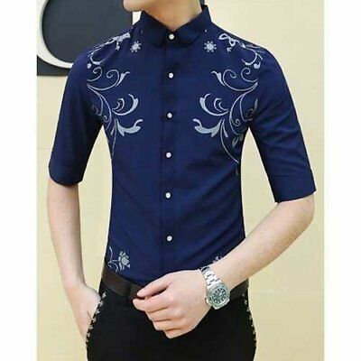 Trendy Shirt Collar Flowers and Plants Pattern Slimming 1/2 Sleeve Polyester ...