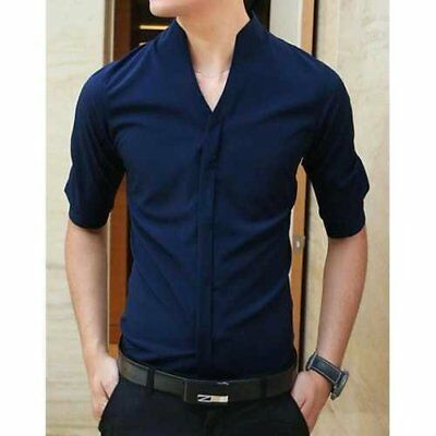 Fashion Stand Collar Slimming Simple Solid Color 1/2 Sleeve Polyester Shirt F...