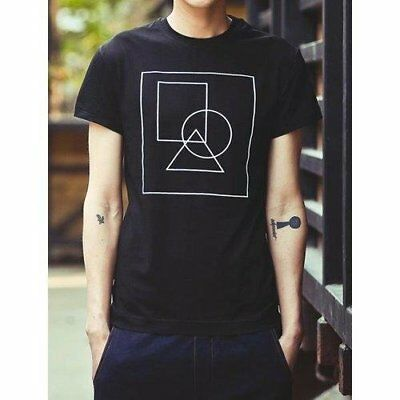 Simple Round Neck Geometric Pattern Slimming Solid Color Short Sleeves Men's ...