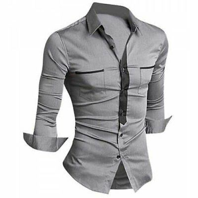 Classic Color Block Button Fly Double Pockets Shirt Collar Long Sleeves Shirt...