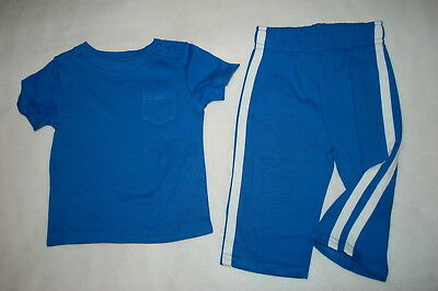d014259a6876 Baby Boys Outfit BLUE S/S POCKET TEE SHIRT Knit Pants w/ White Striping