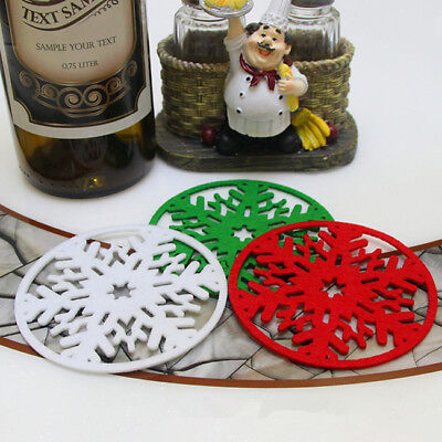 Non-woven Snowflakes Cup Pad Mat Coaster Dinner Party Dish Tray Christmas DecorB