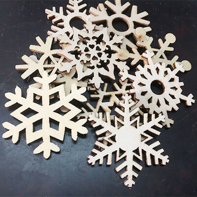 10X Creative Wooden Snowflack Christmas Tree Hanging Decor DIY Craft B