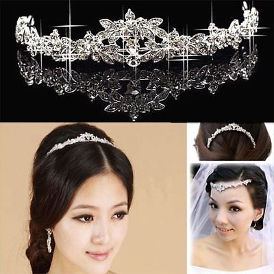 Women Wedding Elegant Bridal Prom Crystal Butterfly Flower Crown Headband Tiaras