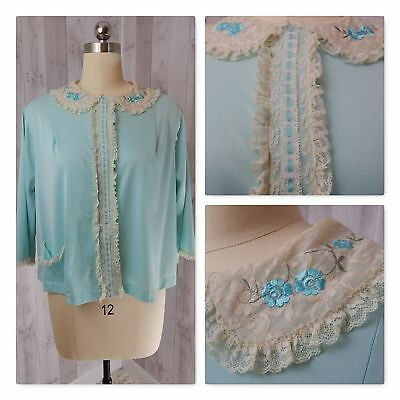 1960s Vintage Baby Blue Bed Jacket CAMISOLE BABYDOLL NEGLIGEE LINGERIE LACE M/L