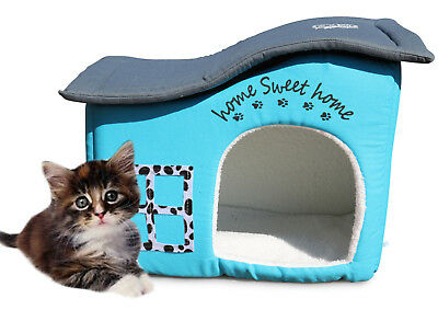Feline Ruff Premium Indoor Cat House. Home Sweet Home. A Sturdy Covered Cat Bed