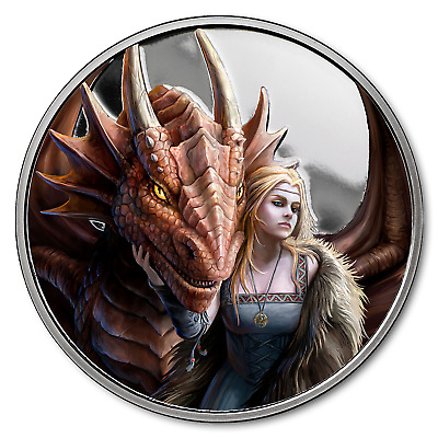 1 oz Silver Colorized Round Anne Stokes Dragons (Friend or Foe) - SKU#169632