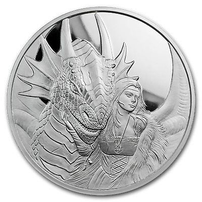 5 oz Silver Proof Round Anne Stokes Dragons (Friend or Foe) - SKU#169634