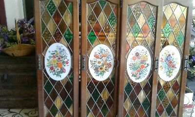 Vintage Stained Glass Window Kitchen cabinet doors Panels
