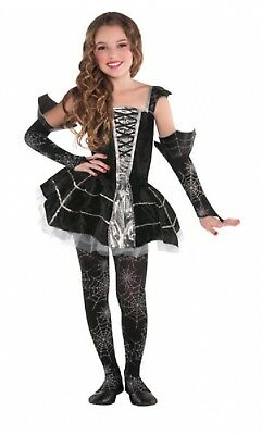 Girls Midnight Spiderweb Halloween Book Day Fancy Dress Costume Outfit 4-10yrs