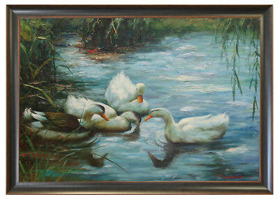 """Framed High Quality Oil Painting Of Four Ducks Swimming On The Lake 24""""X28"""""""