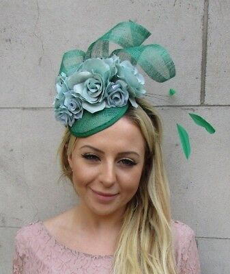 Emerald Green Turquoise Mint Rose Flower Feather Hat Fascinator Races Hair 6111