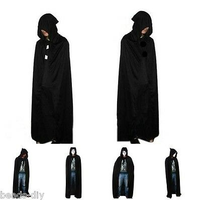 Unisex Men Women Hooded Cape Long Cloak Halloween Costume Dress Coat Cosplay LSM