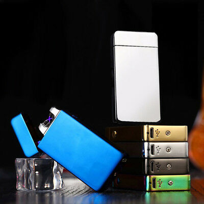 Metal Electric Rechargeable Usb Lighter Flameless Dual Arc Plasma Windproof