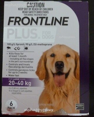 Frontline Plus Large Dogs 45-88lbs (20-40kg) Purple 6 Pack Months New Packaging