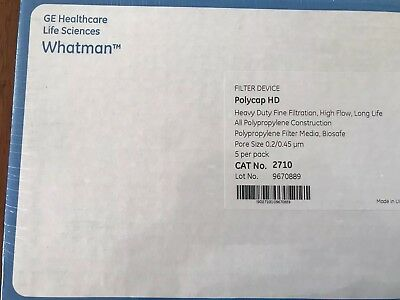 GE Whatman Polycap HD (5 Pack) 2710 Polypropylene Filter, Pore Size 0.2/0.45 um
