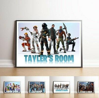 Fortnite PERSONALISED Wall Poster Print Name Bedroom Battle Royale Kids Art *A4*