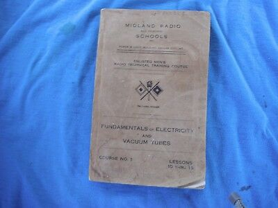 US Army Signal Corps, Midland Radio Schools book, electricity and vacuum tubes