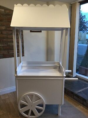White Wooden Sweet Candy Cart Weddings Parties And Christenings