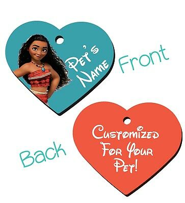 Disney Moana 2-Sided Pet Id Tag for Dogs & Cats Personalized For Your Pet