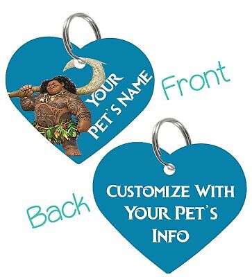 Disney Moana Maui 2-Sided Pet Id Tag for Dogs & Cats Personalized For Your Pet