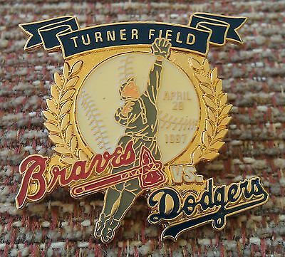 ATLANTA BRAVES vs LOS ANGELES DODGERS First Game Played TURNER FIELD Lapel Pin