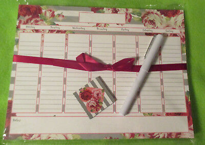 """WEEKLY UNDATED - 7 Day MAGNETIC PLANNER w/ PEN & Magnet 10X7.5"""" RED Pink ROSE"""