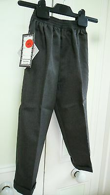 "Boys NEW school trousers GREY PULLONS age 4-5 length 24"" brand Zeco"