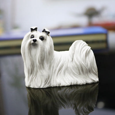 Resin Lovely Maltese dog Hand Painted simulation model Figurine Statue