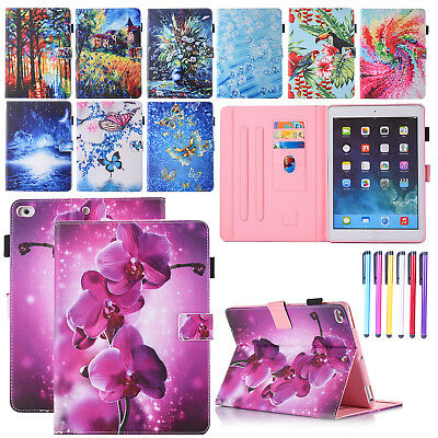 For iPad 9.7 2017 Air 2 Leather Case Flip Stand Card Slot Painted Magnetic Cover