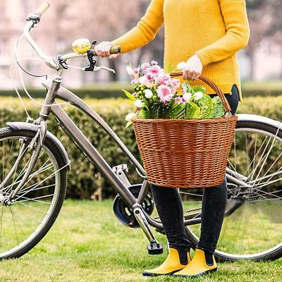Wicker Bike Bicycle Front Basket Handlebar For Shopping Stuff Pets Fruits New