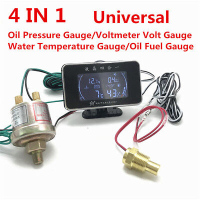 4In1 Multifunction Car LCD Digital Voltmeter Water Temp Oil Pressure Fuel Gauge