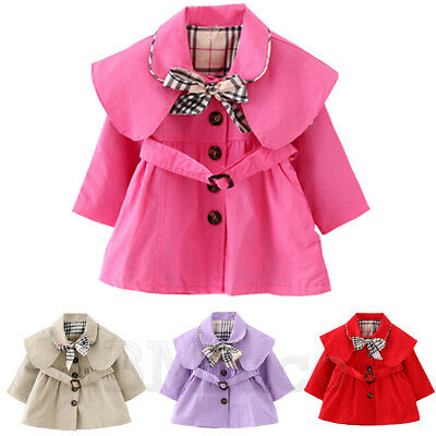 Toddle Baby Girl's Kid's Trench Coat Bowknot Outerwear Long Sleeve Wind Jacket