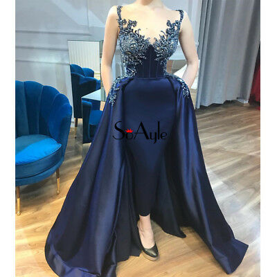 Royal Blue Beaded Satin Mermaid Evening Prom Celebrity Dress Birthday Party Gown