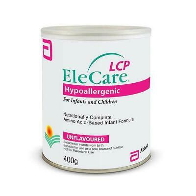 New EleCare Hypoallergenic LCP Unflavoured Formula 400g Infants and Children