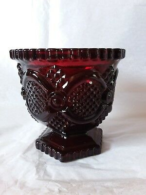 Vintage Avon Red 1876 Cape Cod Collection Footed Sugar Bowl