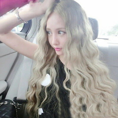 Women Long Curly Wavy Hair Light Blonde Wig Heat Resistant Synthetic Hairpiece